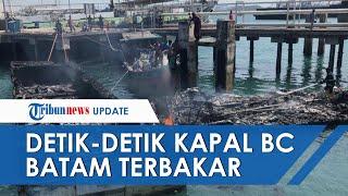 Video Detik-detik 4 Kapal Tangkapan Bea Cukai Batam Hangus Terbakar, Diduga karena Puntung Rokok