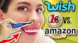CRAZY 1€ WISH BEAUTY vs. AMAZON PRODUKTE! 😵 LIVE TEST! Werbung vs  Realität!