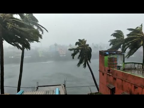 Cyclone Fani has made landfall on India's eastern coast as a grade 5 storm, lashing the emptied beaches with rain and wind gusting up to 127 miles per hour. ( May 3)