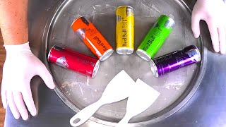 Colorful Ice Cream Rolls   Energy Drink rolled Ice Cream - Red Bull Colors recipe   satisfying ASMR