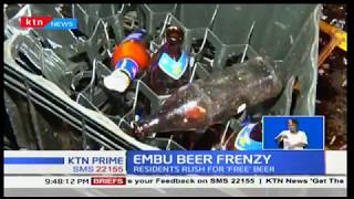 Embu Beer Frenzy:Residents rush for 'free beer' after beer truck overturned