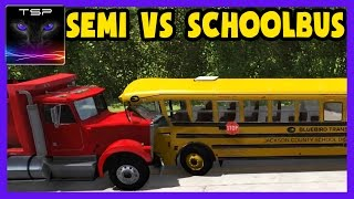 BeamNG drive - School Bus vs Semi Truck - Crashes & Destruction