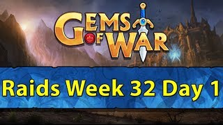 ⚔️ Gems of War Raids | Week 32 Day 1 | Whitehelm Raids and Gold Farming ⚔️