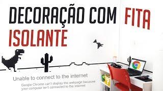 DIY.: DECORAÇÃO DE PAREDE COM FITA ISOLANTE - JOGO DO DINOSSAURO DO GOOGLE CHROME
