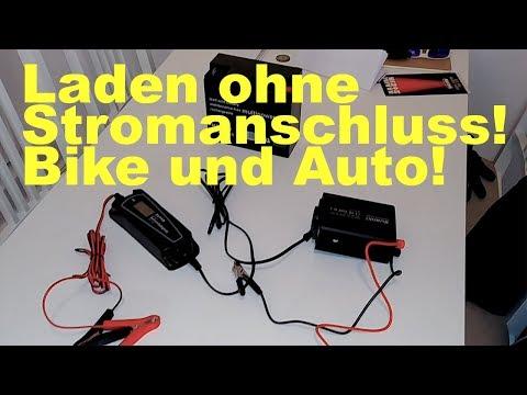 Motorrad oder Autobatterie laden ohne Stromanschluss in der Garage.