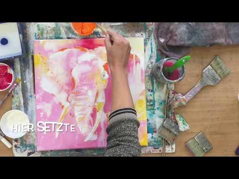Pink Elefant, abstrakt, Tier Porträt, Acryl, Anleitung, pop-art