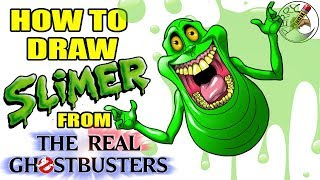 How to draw Slimer from (The real ghostbusters) step by step easy narrated drawing tutorial