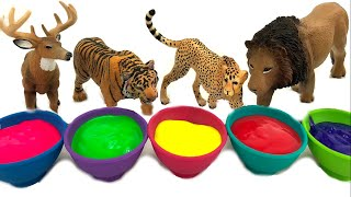 Learn Colors & Wild Animals With Paint And Schleich Toy Animals/Sea Animals Animation/ Bath Time