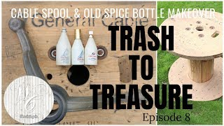 Trash To Treasure Cable Spool Makeover ~ Episode 8 ~ Wooden Spool Makeover ~ Glass Bottle Painting