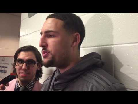 Klay Thompson eats pizza and discusses the Sixers future postgame