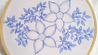 Hand Embroidery Simple Flowers Design Tutorial- Easy Flower Embroidery  Stitches By Hand