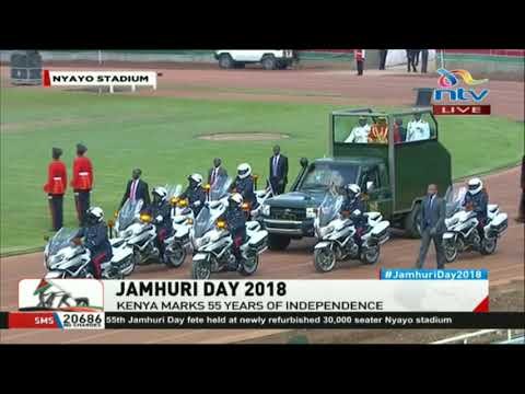 President Uhuru arrives for Jamhuri day celebrations in full army regalia