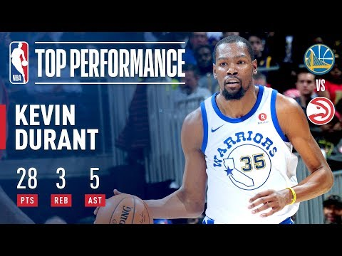 Kevin Durant's 28 Pts Lead the Warriors to a Close Victory in Atlanta | March 2, 2018