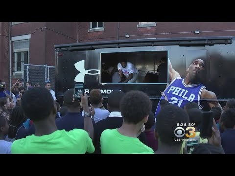 fec84c064 Joel Embiid Surprises Students At The Boys And Girls Club Of Northeast  Frankford