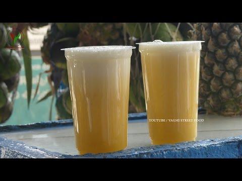 Video How to Make PINEAPPLE JUICE Recipe || Fresh Pineapple Fruit Juice in Minutes || Indian Street Food