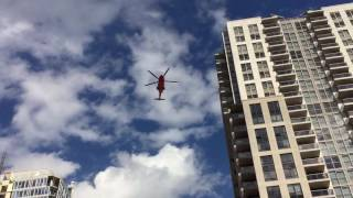 Air ambulance landing on top of St. Michaels hospital.   Sept 2016