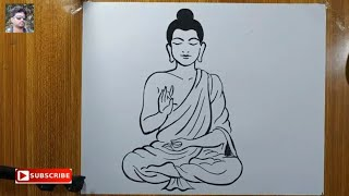 how to draw lord buddha easy line drawing,easy line art