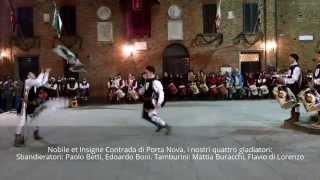 preview picture of video 'Esibizione Sbandieratori e Tamburini Contrada Porta Nova - Palio dei Somari 2015 - Torrita di Siena'