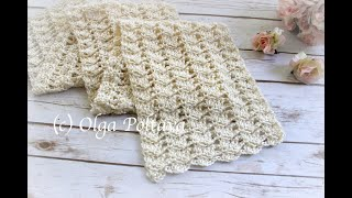 How To Crochet Very Easy Lacy Scarf, Lacy Rows Stitch, Crochet Video Tutorial