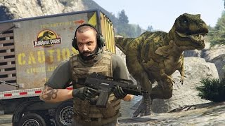 GTA 5 Mods - JURASSIC WORLD w/ T-REX ATTACK MOD!! GTA 5 T-Rex Mod Gameplay! (GTA 5 Mods Gameplay)