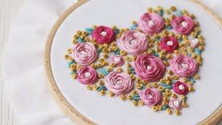 Embroidery Hoop Art. Roses Heart Step By Step Tutorial.