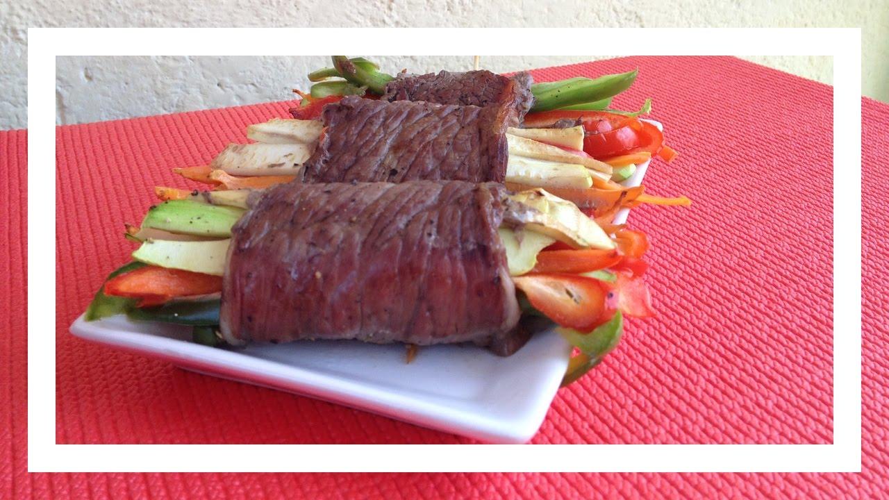 Rollitos de carne y verduras al horno - Receta Fitness