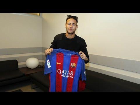 Neymar Jr signs FC Barcelona shirt for Chapecoense