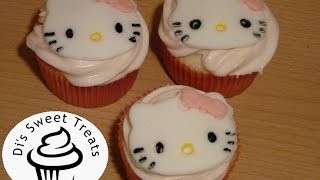 Hello Kitty Cupcakes- Fondant Cupcake Toppers- Dis Sweet Treats