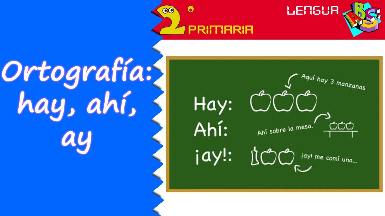 Lengua, 2º. Aprendo a escribir. Ortografía: hay, ay, ahí