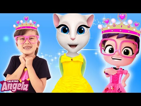 Talking Angela and Abby Hatcher making dress up for the party
