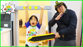 Ryan going through Airport Security with Daddy THE MOVIE 1 hr kids video!!