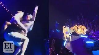 Lady Gaga Falls Off Stage With Fan