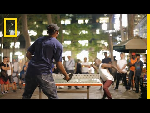 Playing Ping Pong in a New York Park