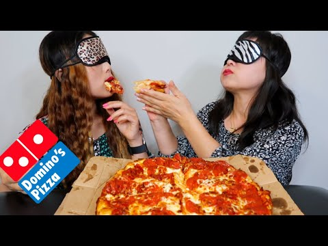 DOMINOS CHEESY PEPPERONI PIZZA MUKBANG (BLINDFOLDED) + SPECIAL DESSERT | Kim&Liz Too