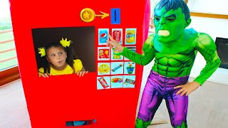 Superheroes Kids Pretend Play with Giant Vending Machine Kids Toy!!!