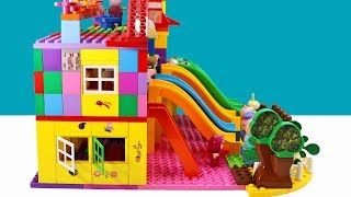 PEPPA PIG Blocks Mega House Construction Lego Sets With Masha and the Bear Toys For Kids