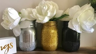 DIY Glitter Mason Jar Vase - Cheap & Simple Gift