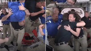 video: Video: Astronauts on ISS show us how a zero-gravity welcome is done as the crew greets new members
