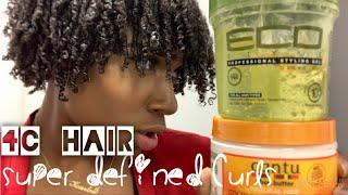 Finger Coil SUPER Defined Curls | Medium Length 4c Hair #definedcurls #naturalhair