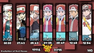 Evolution of Pokémon Trainer Red Themes 1996-2016 (HQ)