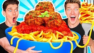 GIANT FOOD CHALLENGE #2 w/ 100lbs Spaghetti & Meatballs Plus How To Make Funny Frozen Foods