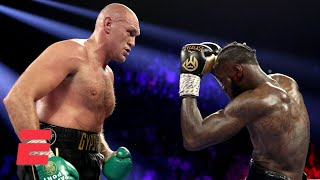 From the MGM Grand Garden Arena in Las Vegas, Tyson Fury wins the much-anticipated rematch vs. Deontay Wilder by TKO in the seventh round, where Fury knocked Wilder down in each of the third and fifth rounds. (3:37) Mark Kriegel breaks down the fight and the adjustments Fury made to get his hand raised.  #Boxing #ESPN #WilderFury ✔ Subscribe to ESPN+ https://plus.espn.com/ ✔ Get the ESPN App: http://www.espn.com/espn/apps/espn ✔ Subscribe to ESPN on YouTube: http://es.pn/SUBSCRIBEtoYOUTUBE ✔ Subscribe to ESPN FC on YouTube: http://bit.ly/SUBSCRIBEtoESPNFC ✔ Subscribe to NBA on ESPN on YouTube: http://bit.ly/SUBSCRIBEtoNBAonESPN ✔ Watch ESPN on YouTube TV: http://es.pn/YouTubeTV  Exclusive interviews with Rachel Nichols https://urlzs.com/jNURe Stephen A. Smith on ESPN https://urlzs.com/W19Tz  ESPN on Social Media: ► Follow on Twitter: http://www.twitter.com/espn ► Like on Facebook: http://www.facebook.com/espn ► Follow on Instagram: www.instagram.com/f/espn  Visit ESPN on YouTube to get up-to-the-minute sports news coverage, scores, highlights and commentary for NFL, NHL, MLB, NBA, College Football, NCAA Basketball, soccer and more.   More on ESPN.com: https://www.espn.com