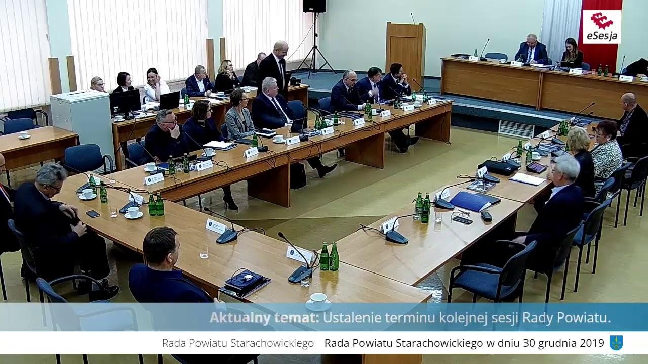 XVI Sesja Rady Powiatu w Starachowicach 30.12.2019r.