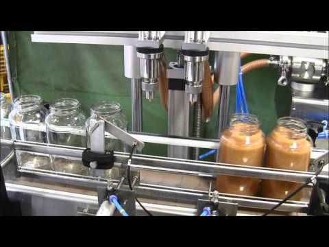 JDA- Automatic 2 Head Piston Filler Machine with Apple Sauce Jars Bottle filler sold by JDA Progress Ind