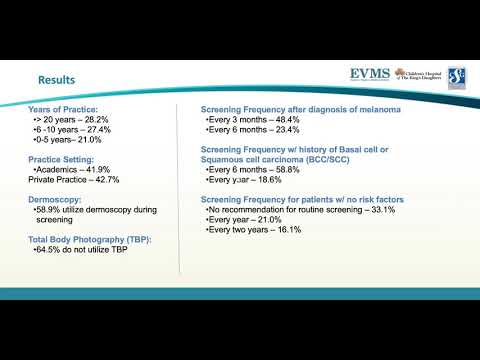 Thumbnail image of video presentation for Skin Cancer Screening Practices Among Dermatologists: A Survey Study