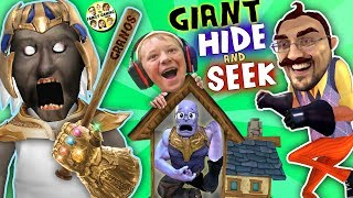 GRANNY's HOUSE Hide 'n Seek! HELLO NEIGHBOR GIANT vs MINI THANOS (FGTEEV Funny Game Challenge)