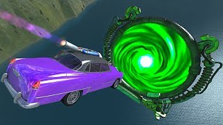 BeamNG.drive - Cars Flying Through Mysterious Giant Portal