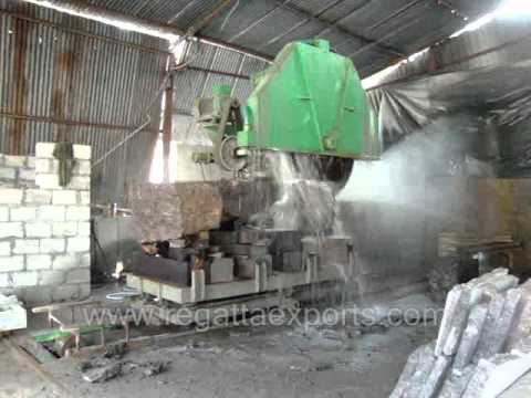 Block Cutting Of Granite Blocks By Cutting Machine