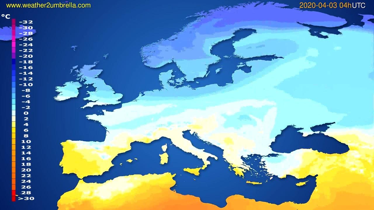 Temperature forecast Europe // modelrun: 12h UTC 2020-04-02