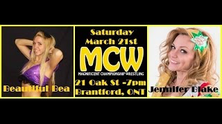preview picture of video 'Jennifer Blake w/Tyler Triva  vs Beautiful Bea - MCW - Brantford'